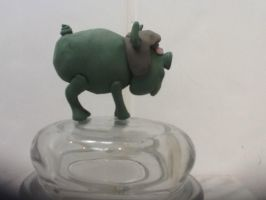Muscle man as a pig clay model side view by Varano25