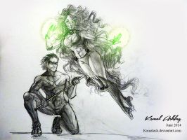 Nightwing and Starfire by Komalash