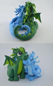 custom order - wedding cake topper - dragon couple by claymeeples