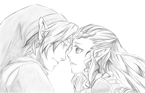 Link and Zelda - Drawing and Shading - by Tara-Daphor