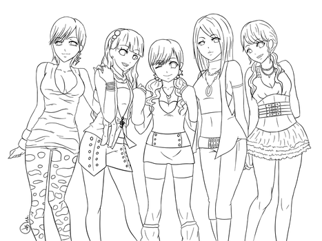 OC-Girls Night Out :LINEART: by Cat-Pan