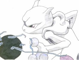 Mewtwo, Psychic Attack Colored by knightblazer