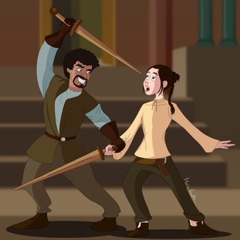 Game of Thrones - Syrio Forel + Arya Stark by Flachzange