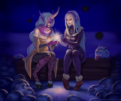 Syndra and Soraka by Artist-LaiNa