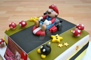Mario Cake close up by elainewhy