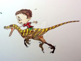 dino with markers by Xgrunt