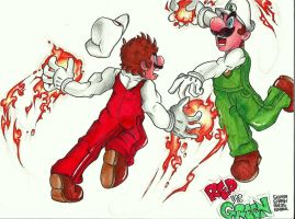 Mario vs luigi-Red vs Green by Asten-94