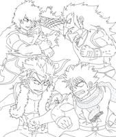Nastu y Gajeel VS Sting y Rogue by guerreroOmega