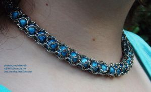 Blue Beaded Captive Weave - Chainmail Necklace (3) by ulfchild