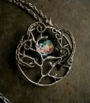 Tree of life with black opal moon - Silver Crone by LadyPirotessa