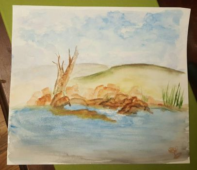 WC sketch. Oklahoma lakeshore and sandbar by SharonIllumined
