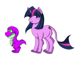 Twilight and Spike in Eocene period by Animewave-Neo
