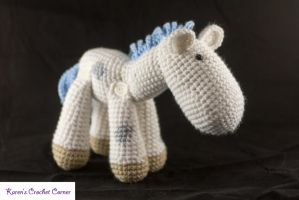 White pony with grey spots, baby blue hair by karenscrochetcorner