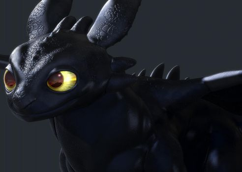Toothless Headshot WIP by NBQuaternion