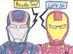 Iron Patriot and Ironman by fullhousekissrox