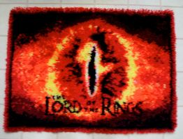 Eye of Sauron hook rug by shrakner