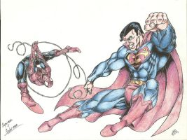 My Superman and Spider-man by jlbhh1977