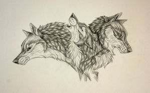 Three wolves WIP by RedSoulWolf13