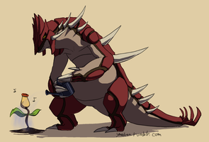 Groudon waters plants by umbbe