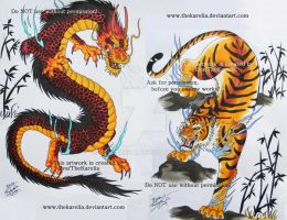 Dragon vs Tiger by TheKarelia