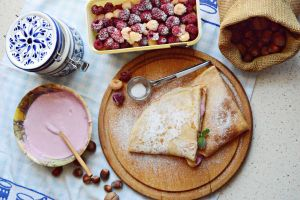 Pancakes with raspberry cream by SunnySpring