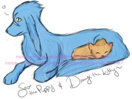 Saix and Demyx the cat and dog by chibimizuthing