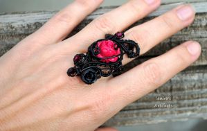 Goth wire wrapped ring with red rose by IanirasArtifacts