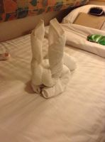 Bunny made of towels by UnaccountedFranglais