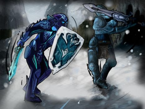 ''Battle at Land of Snow'' by Huntermanx