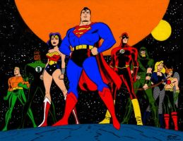 Bruce Timm's Justice League by Gwhitmore