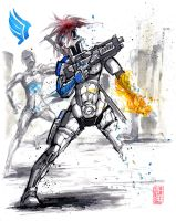 Mass Effect OC Blue N7 Marine Sumie style by MyCKs