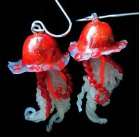 fall colored jelly fish earrin by carmendee