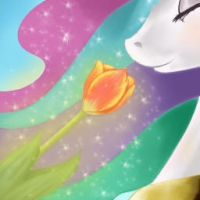 Celestia and flower by Crux9011