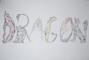 DRAGON calligraphy by rice-claire