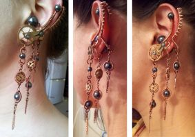 Clock tribal clip earring by Enotification