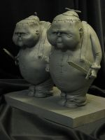Tweedle Dee and Dum WIP Primed by Blairsculpture