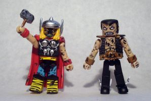 Zombie Namor and Thor Custom Minimates by luke314pi