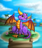 Spyro on a little island by Cattensu