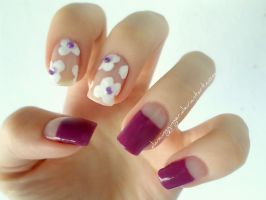 Purple White Flowers Nails by DancingGinger