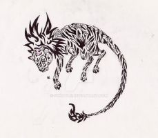 Albino Liger Tribal Tattoo by Skrayle