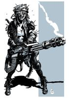 Post apocalyptic minigun girl 2 by bumhand