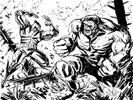 Wolverine vs. Hulk by jaypiscopo