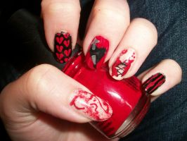 My Bloody Valentine Nails by QueenAliceOfAwesome
