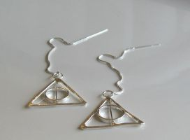 Tiny Deathly Hallows Earrings by Peaceofshine