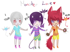 Mixed Set 4 (one kemonomimi) Monsters by chuguri