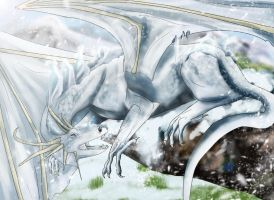 Commission: The ice dragon by Loonaris