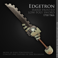Edgetron - low poly hand painted sword by Fox-Demon-Kasumi