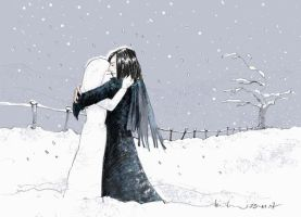 Snowgirl_Embrace_ by somelatevisitor