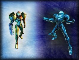 Samus VS Dark Samus V3 by Strawberryshit
