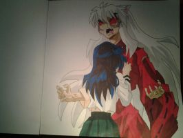 Full demon InuYasha and Kagome by kagomeh202